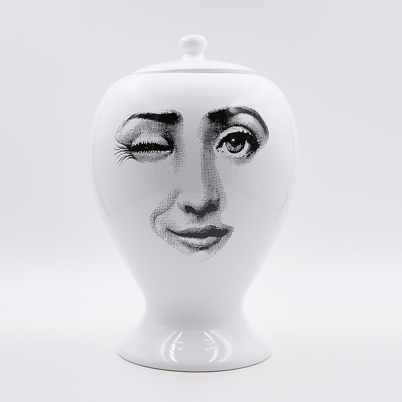 Vase Fornasetti Decor Flower Pot European Ceramic Decorative Large Sealing Vase Home Decoration Accessories Christmas