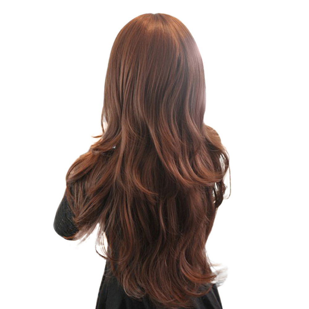 Womens Girls Fashion wigs front lace Wavy Curly Long Hair Side Fringe Human Full body wave wigs front lace Hairnet 52223A