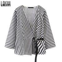 LAISIYI Women Kimono Blouse Striped Shirt Casual Loose Blusas 2018 Summer Slim V Neck Lace Up