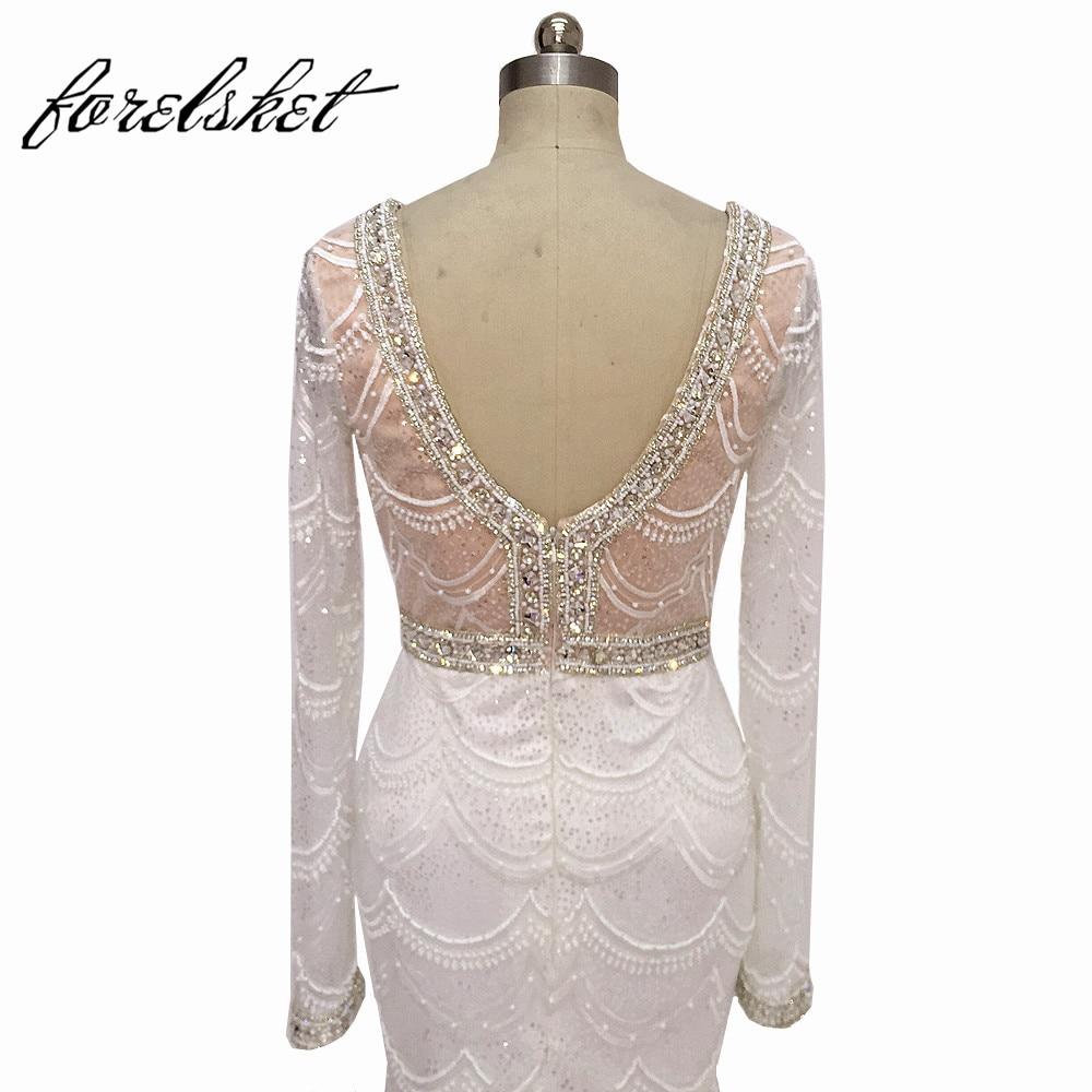Romantic perlas largas vestidos de novia mangas largas de encaje - Vestidos de novia
