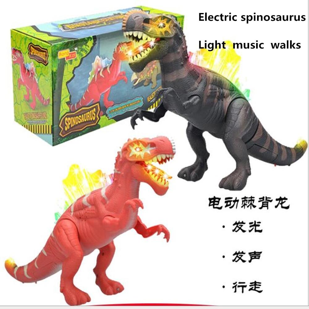 brinquedo do dinossauro animal de brinquedo eletrico 42 cm andando musica som luzes piscando modelo spinosaurus