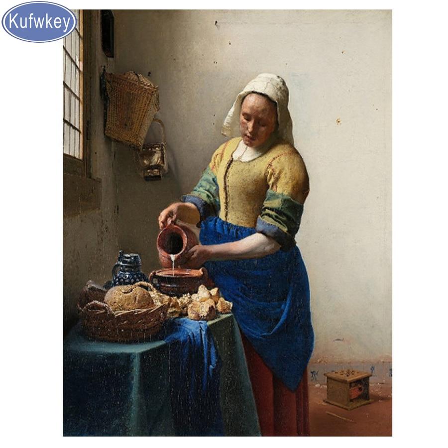 Полноразмерная круглая Алмазная картина 5d «сделай сам» Milkmaid, наборы для вышивки крестиком, Женская мозаика, алмазная вышивка, Настенная кар...