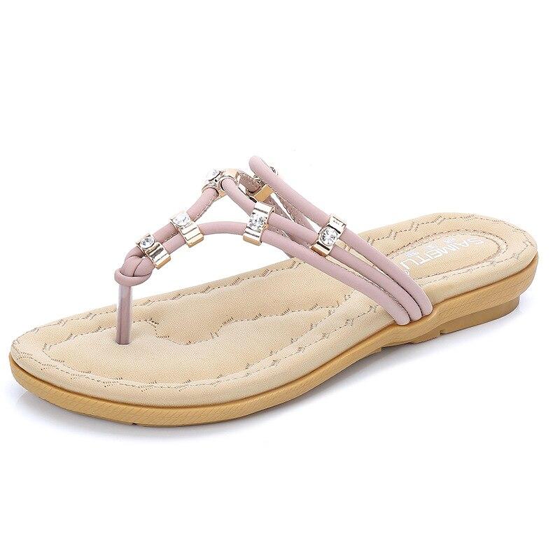 Women Rhinestone Slippers Flat Sandals Flip Flop Beach Crystal Slippers Ladies Comfortable Slipper Purple Slides Plus Size 35~41