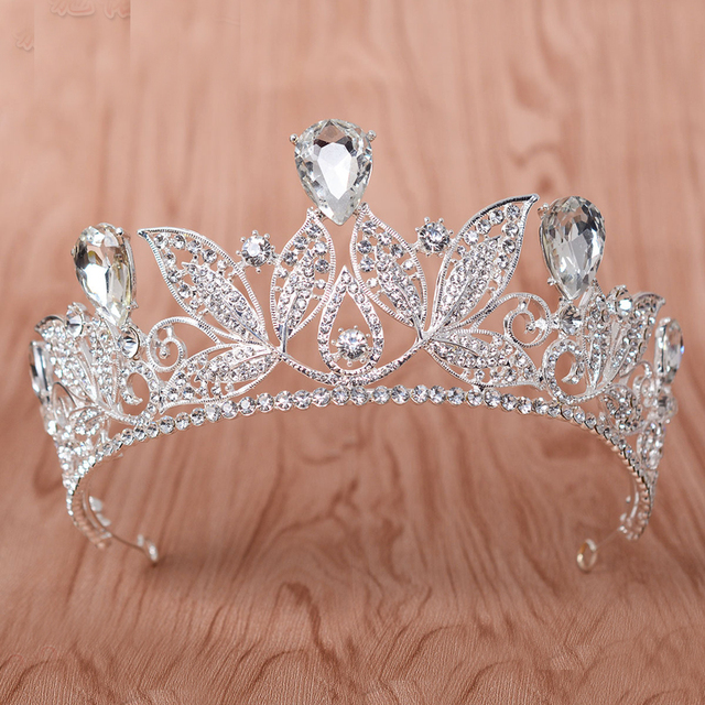 Silver Plated Large Vintage Baroque Crystal Rhinestone Wedding Crown And Tiara Headband Bridal Pageant Hair Jewelry Accessories
