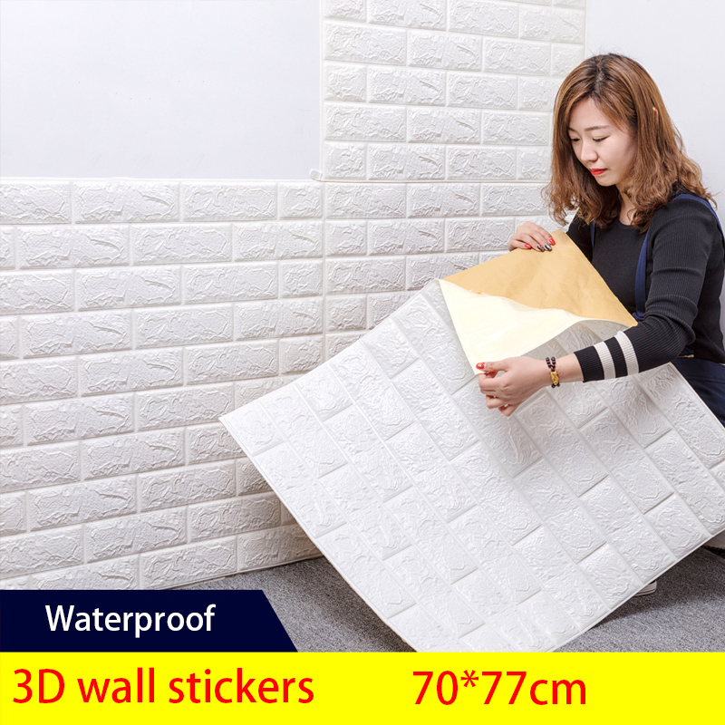 70*77cm 3D Brick Wallpaper Wall Stickers Living Room Bedroom Decor Home Waterproof Foam DIY  Self Adhensive Art Home Wall Decals(China)