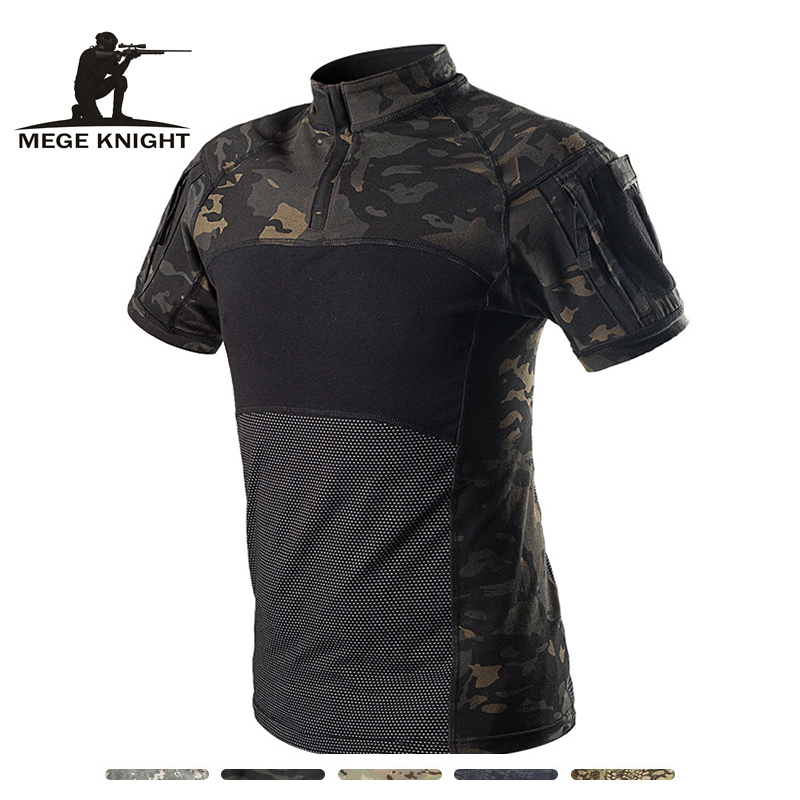 MEGE Camouflage Army T-Shirt Men Summer RU Frog Soldiers Combat Tactical T Shirt Military Force Multicam Tee Camo Short Sleeve