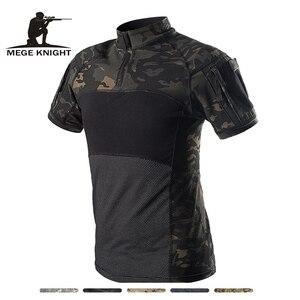 Image 1 - Mega kamuflaj askeri tişört erkekler yaz RU kurbağa askerler savaş taktik T Shirt askeri kuvvet Multicam Tee Camo kısa kollu