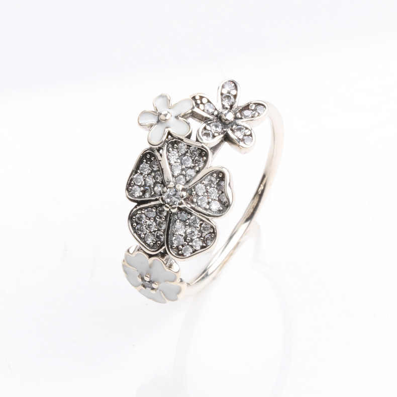 e70cedd53 ... Authentic 925 Sterling Silver Pan Ring Shimmering Bouquet Statement  With Crystal Rings For Women Wedding Gift ...