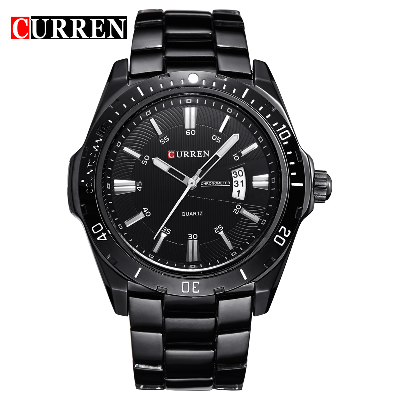 Fashion Top Brand Curren Watches Men Casual Sport Watch Quartz Male Black Stainless Steel Strap Auto Date Analog Display Clock curren luxury brand men watches full stainless steel analog display auto date male fashion quartz watch waterproof xfcs clock