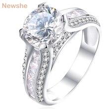 Newshe 925 пробы Серебряное обручальное кольцо 2 Ct Круглый Белый AAA CZ Модный дизайн ювелирные изделия для женщин JR4791