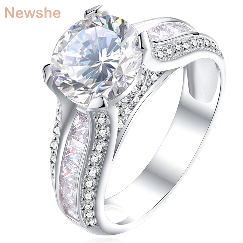 Newshe 925 Sterling Silver Engagement Ring Engagement 2 Ct Raundi Bardhë AAA CZ Bizhuteri në modë Design for Women JR4791