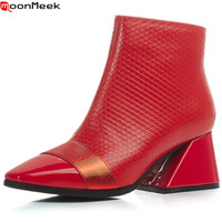 MoonMeek Autumn Winter New Women Boots Square Toe Genuine Leather Boots Black Red Zipper Cow Leather