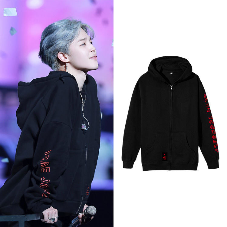 BF 2019 New Kpop LOVE YOURSELF CONCERT Jimin The Same Style Kpop Fans Zipper Hoodies Sweatshirts Women Cotton Hooded Clothes