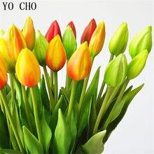 Yo cho 6 pçs/lote mini tulipas pu flores artificiais flor de casamento decoração para casa acessórios luau fontes de festa diy bouquet de noiva