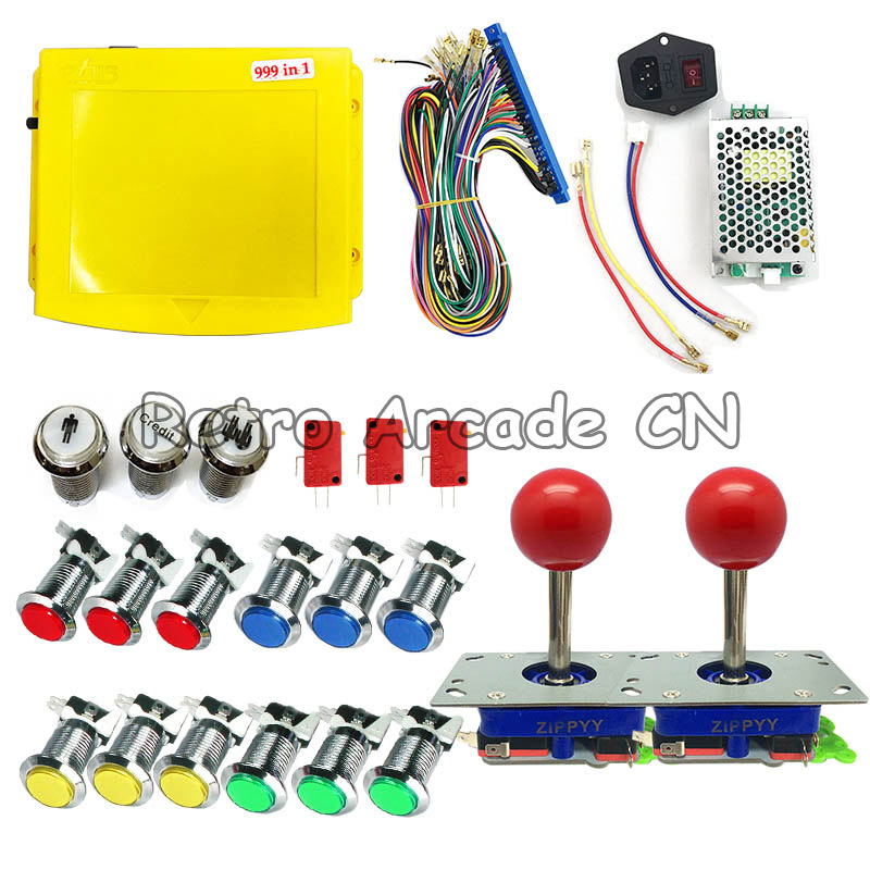 DIY Arcade game kit 2 Player Jamma Mame kit for 999 in 1 PCB board with jamma wire harness joystick 12V led push buttonsDIY Arcade game kit 2 Player Jamma Mame kit for 999 in 1 PCB board with jamma wire harness joystick 12V led push buttons