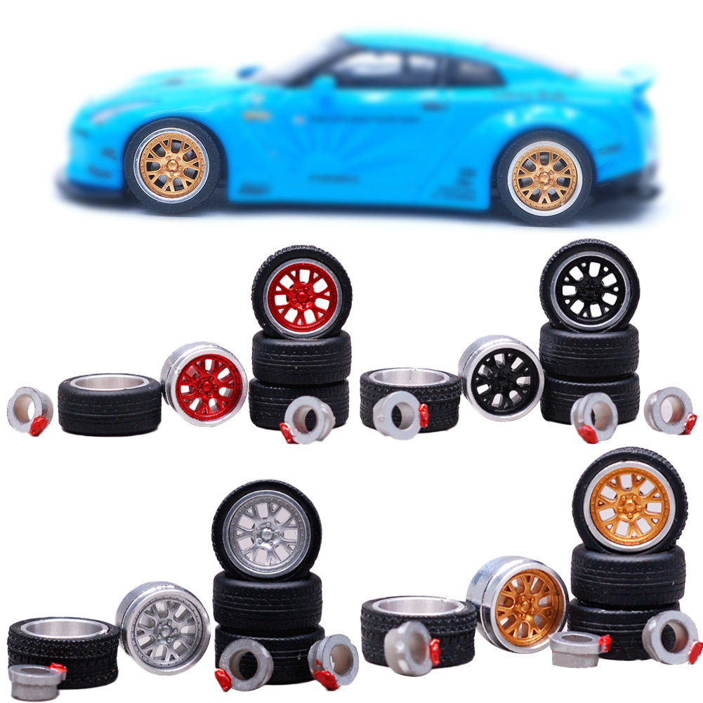 1:64 36 Styles Model Modified Tire+2axles+4end Caps Diecasts Alloy Wheel Tire Rubber Vehicles General Model Of Car Change Wheel