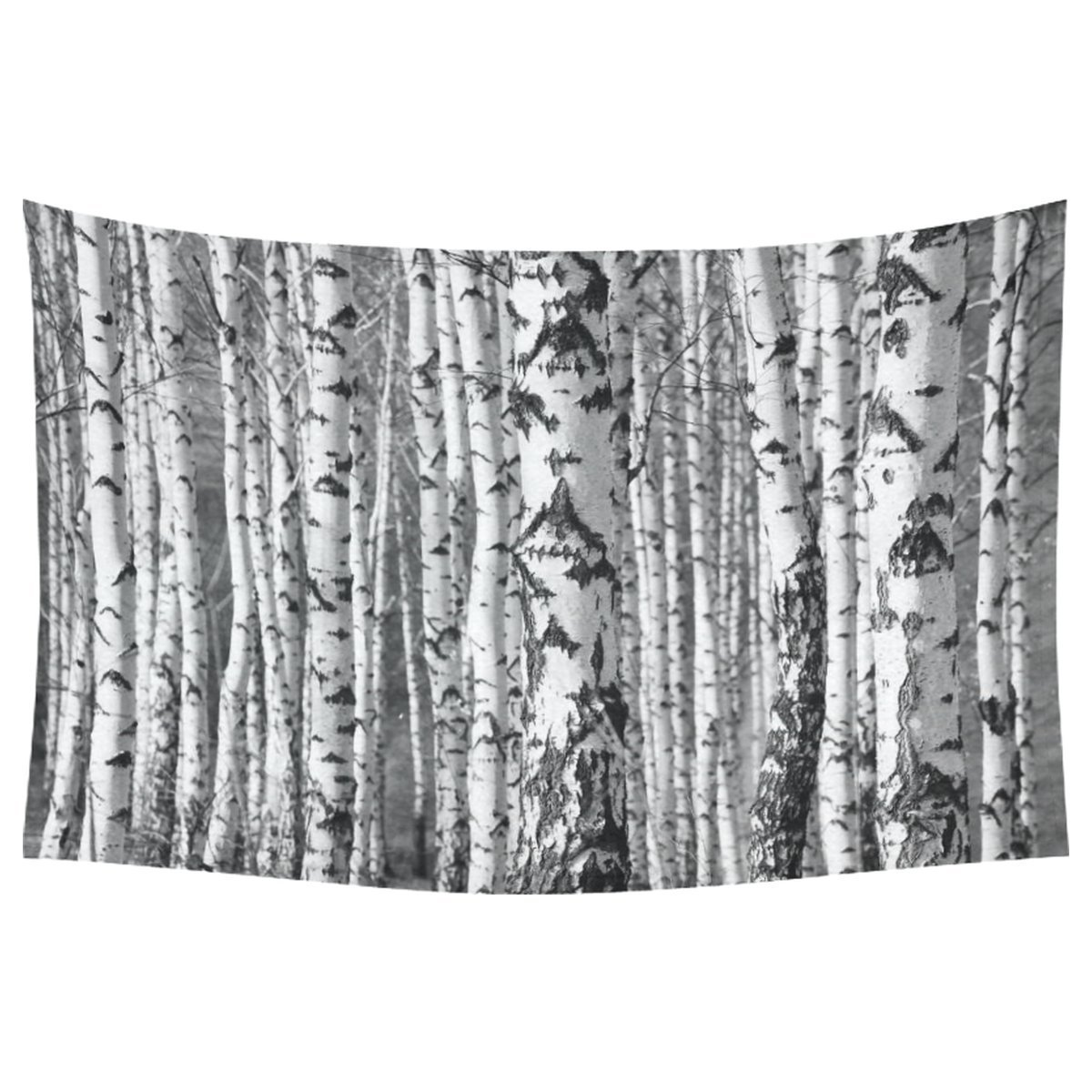 Natural Landscape Wall Art Home Decor, Birch Trunks Tree Art Black and White Cotton Linen Tapestry