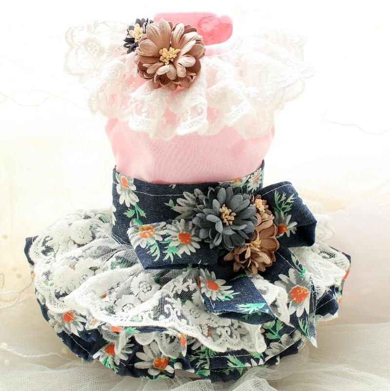 Envío gratis pequeña margarita flores 3D falda de encaje ropa de - Productos animales