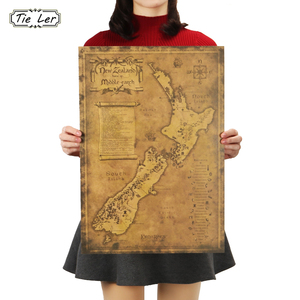 TIE LER New Zealand Mysterious Old Map Poster Restoring Ancient Ways Map Kraft Paper Adornment Picture Poster Wall Sticker(China)