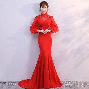 2019 New Elegant Slim Solid Color Long Banquet Evening Dress Ankle-length