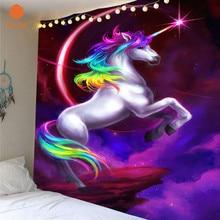 3D colorido unicornio pared colgante tapiz impreso decorativo púrpura colcha dormitorio cubierta playa toalla hogar habitación decoración de pared