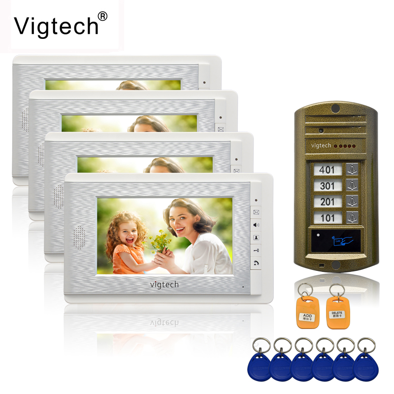 Vigtech 7 color video door phone 4 monitors with 1 intercom doorbell can control 4 houses for multi apartment RFID Camera  Vigtech 7 color video door phone 4 monitors with 1 intercom doorbell can control 4 houses for multi apartment RFID Camera