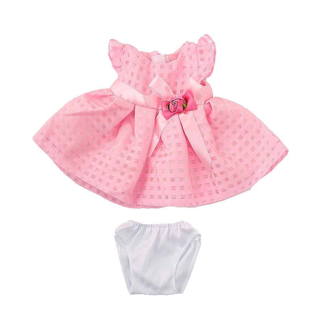2018 New Pink Skirt Dress with Rose Flower Bowknot Outfit for 18 inch American Girl Doll
