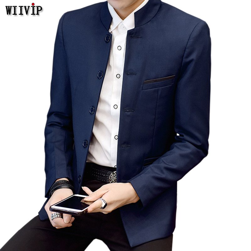 Spring Fashion New Stand Mandarin Collar Men Blazer Young Man Slim Fit Chinese Style Blazers Autumn Suit Blazer   YW162