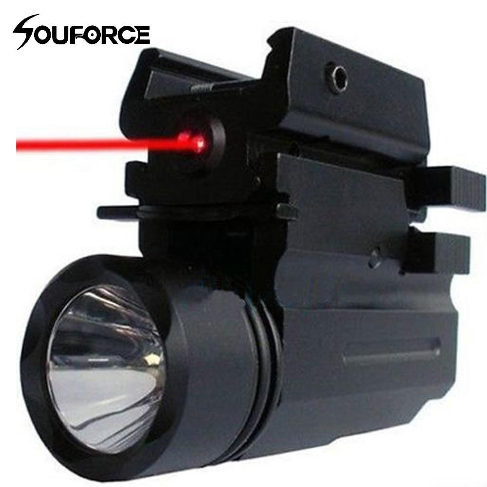 2 in1 Tactical 3 Model LED Flashlight + Red Dot Laser Sight Combo for Pistol Guns Glock 17,19,20,21,22,23,30,31,32 element ex276 peq15 battery case military high precision red dot laser integrated with led flashlight red laser and ir lens