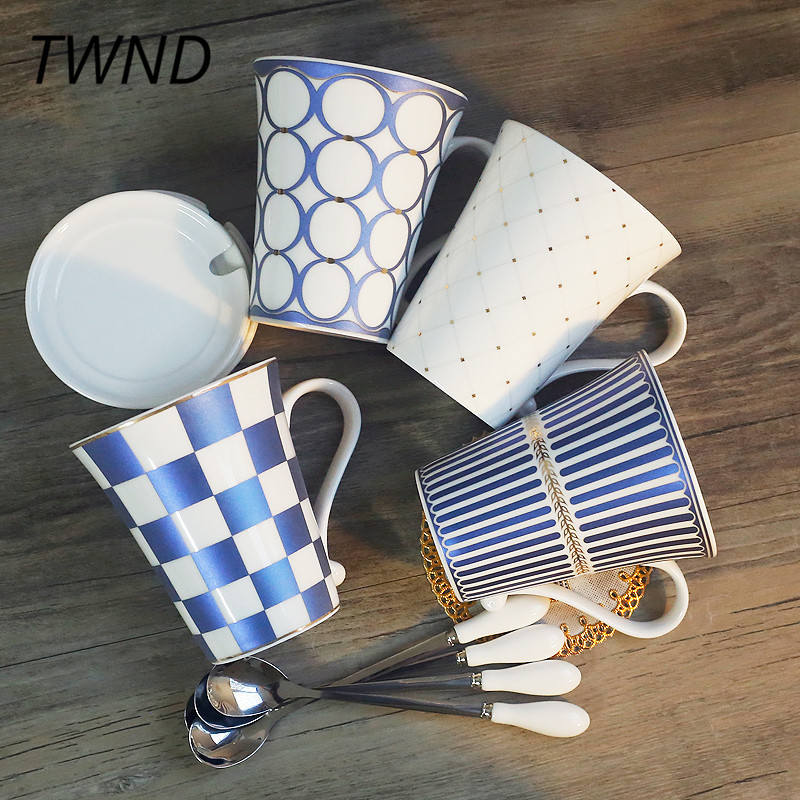 4 Pieces procelain coffee mugs sets tea cups and mugs with cover spoon office home office