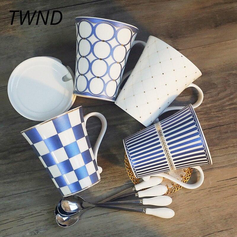 4 pièces tasses à café en porcelaine définit tasses à thé et tasses avec couvercle cuillère bureau maison bureau marque drinkware 33-in tasses from Maison & Animalerie    1