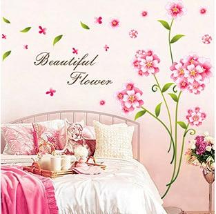 Bedroom Wall Decor Romantic aliexpress : buy romantic flower pattern wall sticker bedroom