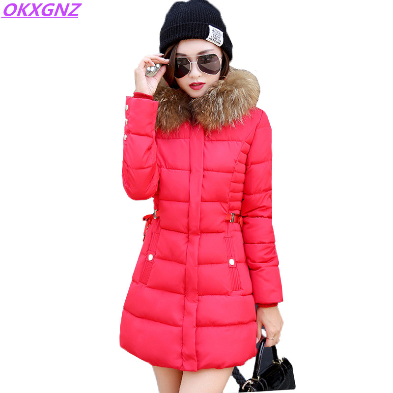 Winter Jackets Women Down Cotton Coats New Fashion Hooded Fur Collars Warm Outerwear Plus size Medium Length Slim Parkas OKXGNZ winter women s cotton jackets new fashion hooded warm coats solid color thicker casual tops plus size slim outerwear okxgnz a735