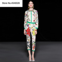 High Quality Runway Sets Women Elegant Two Piece Outfits 2018 Autumn Floral Print Blouse+Skinny Pants Suit Set Office Twin Set