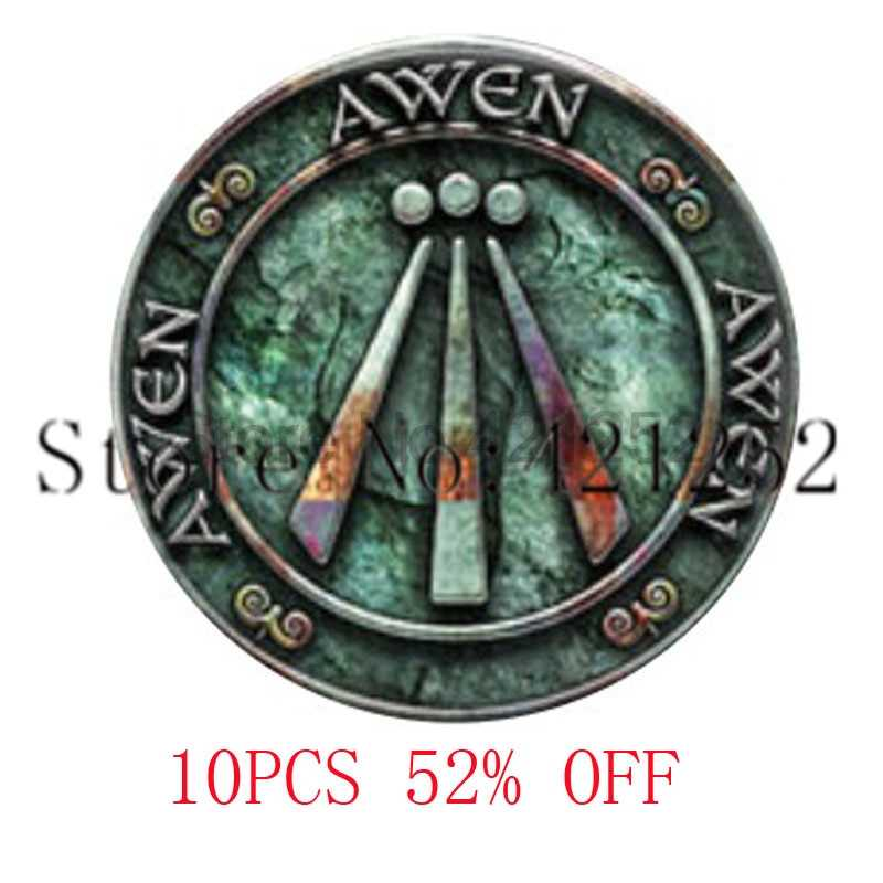 Rustic Awen in Blueish Greens Pendant necklace keyring bookmark cufflink earring