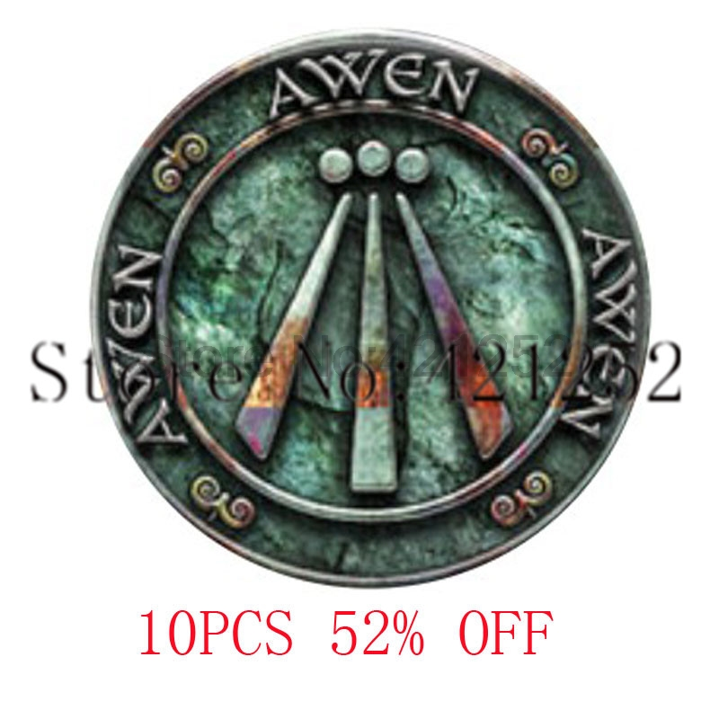 Rustic Awen in Blueish Greens Pendant necklace keyring bookmark cufflink earring ...