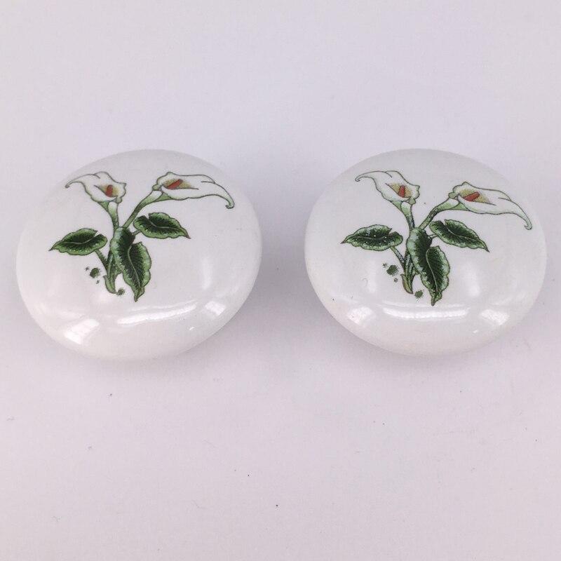 10pcs/lot White Ceramic Cabinet Kitchen Wardrobe Handle Cupboard Closet Dresser Drawer Handles Pulls Round knobs