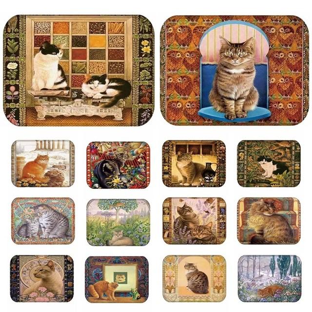1 pcs 40*60 cm Adorável Cats Padrão Anti-Slip Camurça Tapete Porta tapete capacho Cozinha Sala de estar Ao Ar Livre sala Tapete Tapete 48199