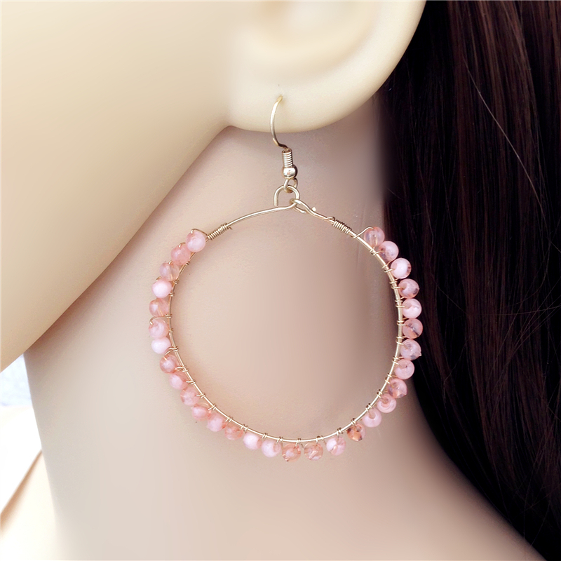 Hot Sale Fashion Jewelry New Year Gift Simple Handmade Pink Exquisite Weave Beaded Drop Earrings Bijoux