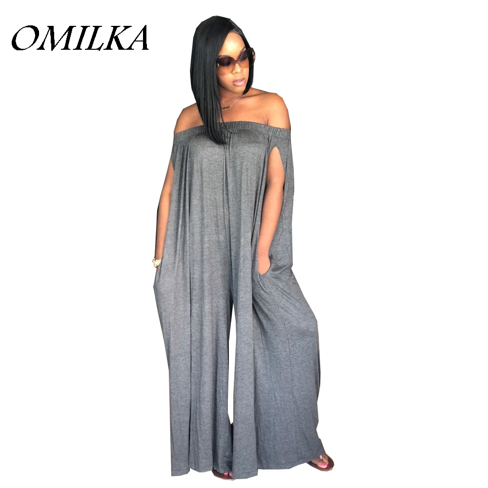 OMILKA 2018 Summer Women Off the Shoulder Loose Rompers and Jumpsuits Casual Gray Blue Purple Coffee Slash Neck Pocket Overalls