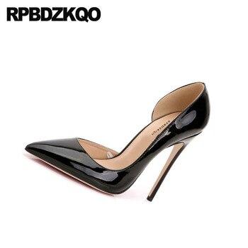Dames Talons Hauts 2018 Rouge Stiletto Italien Noir Pompes Célébrité Bout Pointu Taille 4 34 Chaussures D'orsay 33 Pêche Cuir Verni