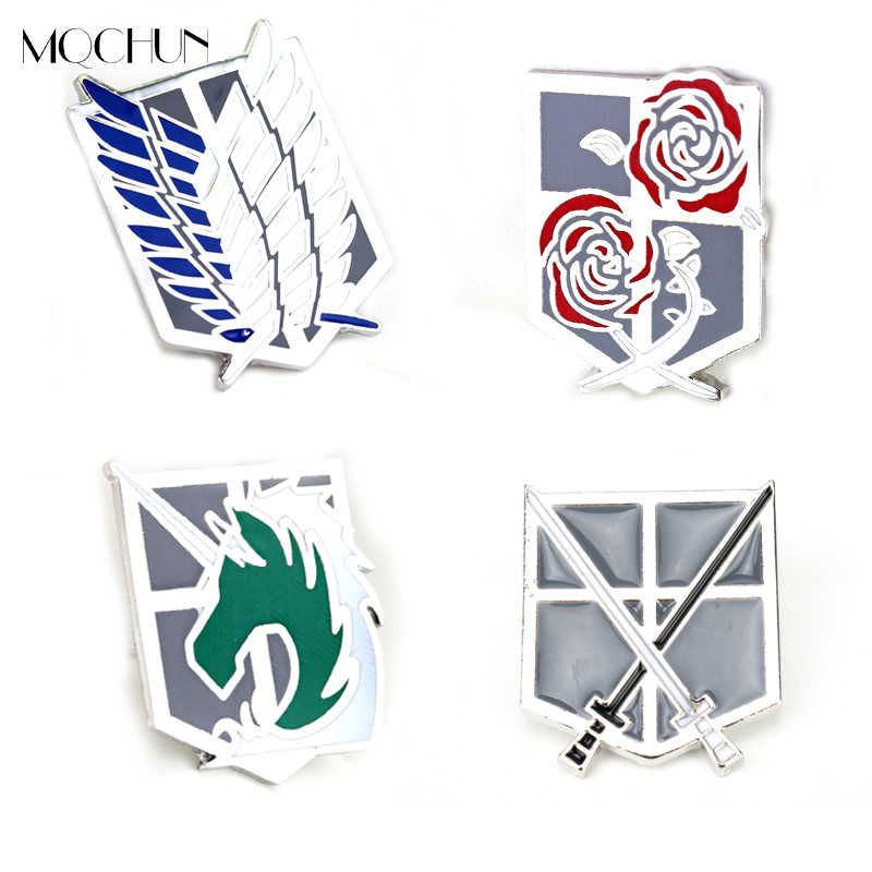 MQCHUN 2018 New Arrivals Hot Anime Jewelry Attack on Titan Shingeki no Kyojin Scouting Legion Badge Fashion Brooches Pin For Men