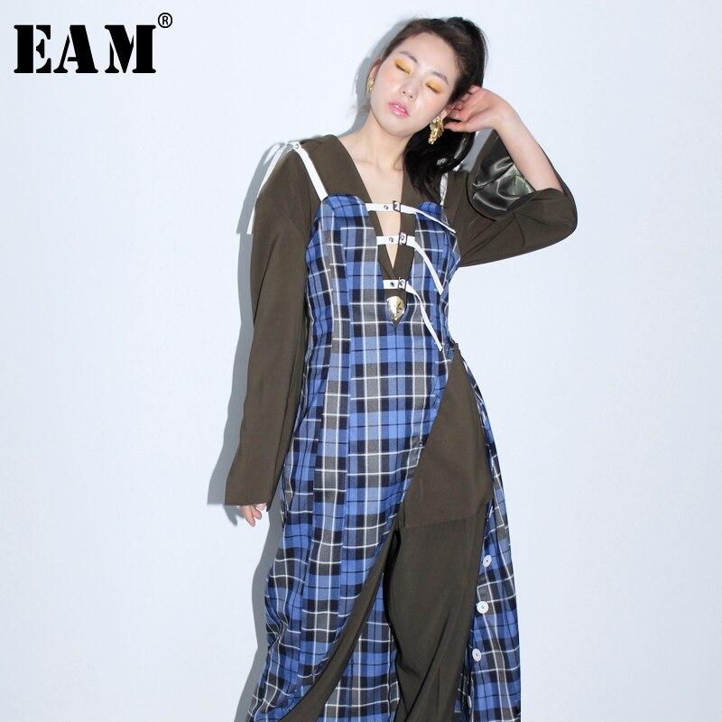 EAM 2019 New Spring Summer Spaghetti Strap Blue Plaid Buckle Split Joint Irregular Hem Dress