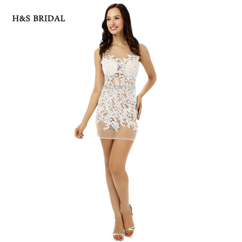 H&S BRIDAL Full See Through White Appliques Sexy Party Prom   Dresses   Women Short Sheer   Cocktail     Dresses