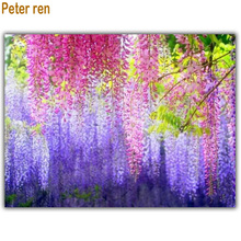 Wisteria sinensis Diamond embroidery Diy painting landscape 5d Square diamond mosaic rhinestones Full