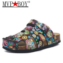 MVP BOY New Summer Men Beach Cork Slippers Casual Buckle Clogs Slides Man Slip on Flip Flop Shoe Plus Size 35-45 Black White Red gktinoo genuine leather shoes hollow slippers handmade slides flip flop on the platform clogs for women woman slippers plus size