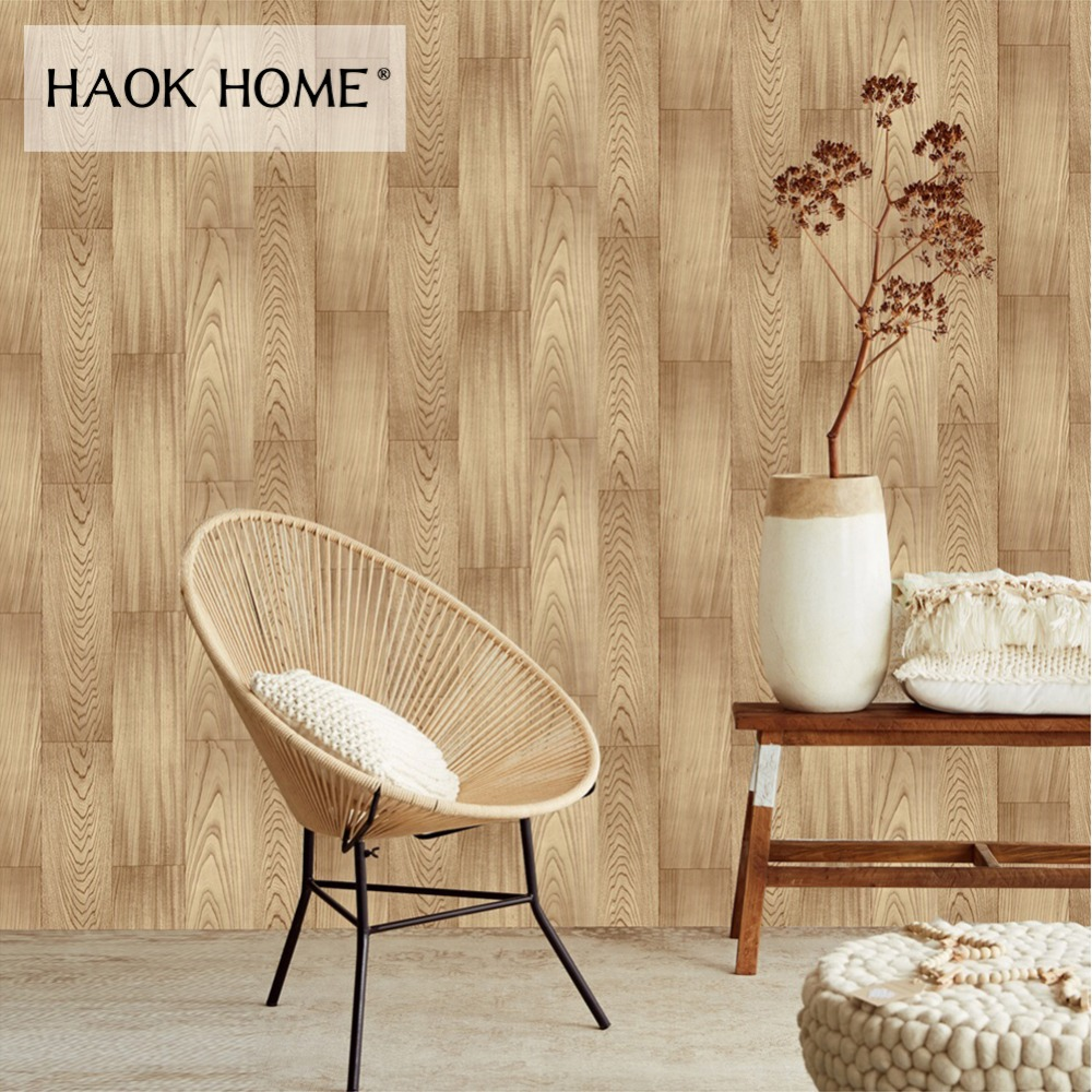 HaokHome 3d Wood Panel Wallpaper Roll self adhesive contact paper Yellow For Living room bedroom funiture sticker home decorHaokHome 3d Wood Panel Wallpaper Roll self adhesive contact paper Yellow For Living room bedroom funiture sticker home decor