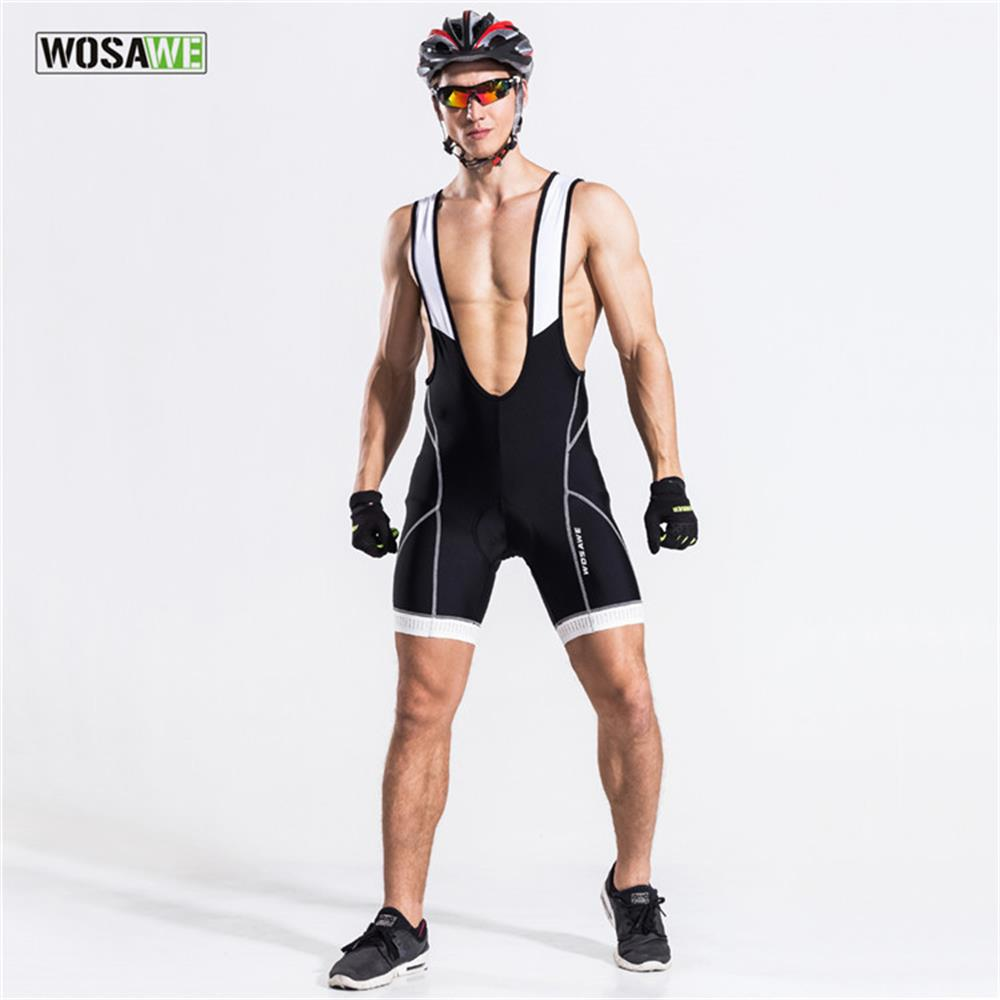 WOSAWE Pro Team Cycling Bib Shorts Men Bike Jersey Bib Shorts Bicycle Bib Shorts MTB Mountain Road Cycling Padded Shorts Pants