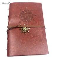 Mer des caraïbes Pirate Rétro Style Voyage Journal Portable PU Visage Noeud Noeud Lâche Feuille Portable