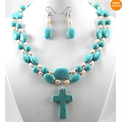 New Arriver Pearl Jewellery Set,2rows Blue Turquoises Natural White Freshwater Pearls Cross Pendant Necklace Earrings